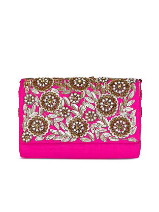Pink Sequinned Raw Silk Clutch