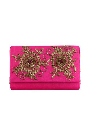 Pink Embellished Raw Silk Clutch