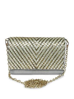 Silver Embellished Raw Silk Clutch