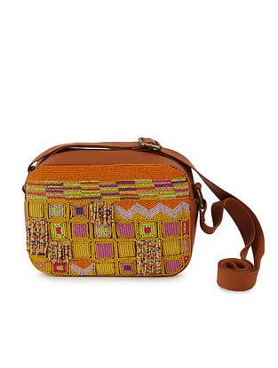 Orange Beaded Raw Silk Sling Bag