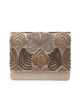 Gold Embroidered Beaded Raw Silk Clutch