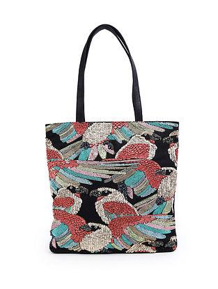 Multicolor Sequinned Raw Silk Tote bag
