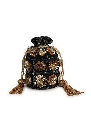 Black Embroidered Raw Silk Potli