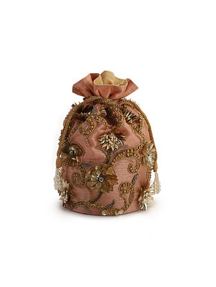 Pink Embroidered Raw Silk Potli