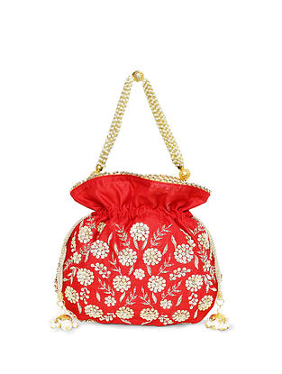 Red Embroidered Raw Silk Potli