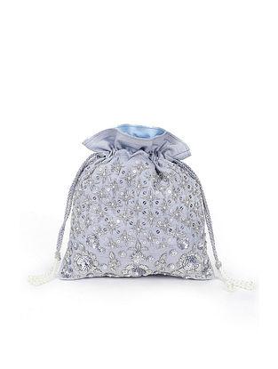 Silver Embroidered Raw Silk Potli