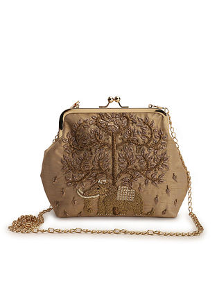 Gold Embroidered Raw Silk Clutch