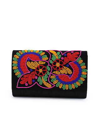 Multicolored Embroidered Raw Silk Clutch
