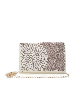 White Embroidered Raw Silk Clutch