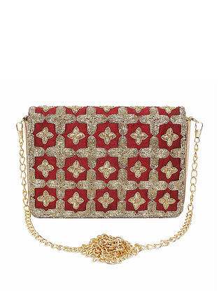 Red Embroidered Raw Silk Clutch
