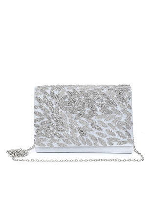 Silver Embroidered Raw Silk Clutch