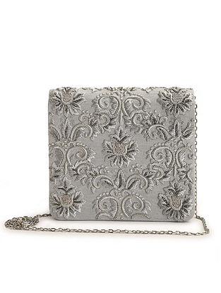 Silver Embroidered Raw Silk Clutch
