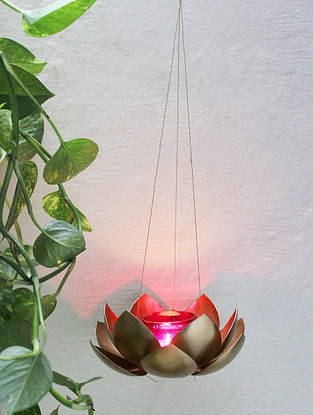 Gold and Purple Kamalam Hanging T Light (Dia-6.6in, H-26in)