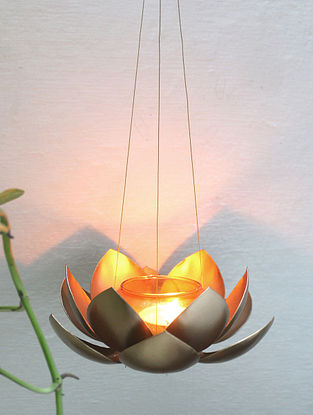 Gold and Orange Kamalam Hanging T Light (Dia-6.6in, H-26in)