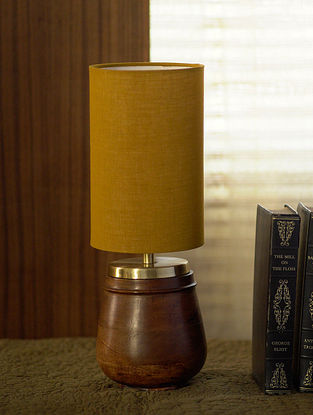 Brown and Ocher Ellora Table Light  (Dia-6in, H-16in)