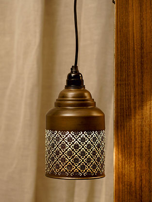 Antique Gold Ajrakh Hanging Light (Dia-5.3in, H-8in)