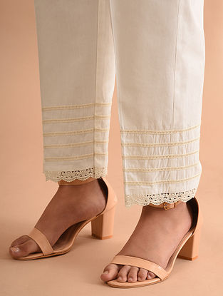 Off White Cotton Palazzo with Lace Detailing