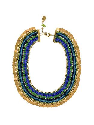 Blue Green Gold Tone Handcrafted Necklace