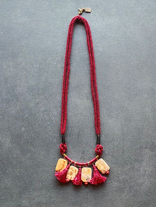 Red Cream Handcrafted Necklace With Jasper