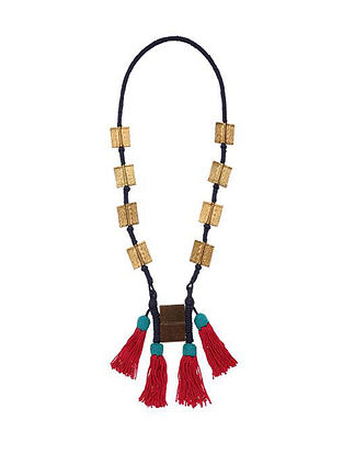 Red Black Gold Tone Handcrafted Necklace