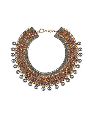 Grey Gold Tone Handcrafted Necklace With Pearls