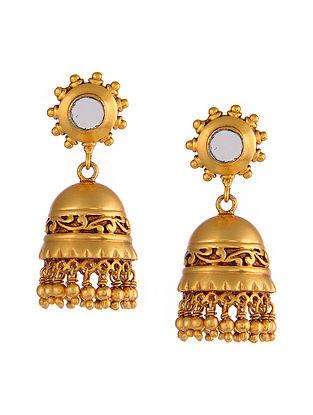 Gold Tone Tribal Silver Jhumki Earrings
