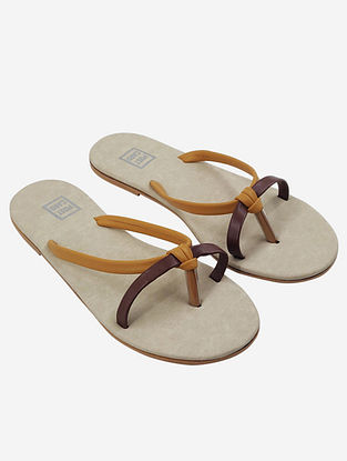 Brown Mustard Handcrafted Faux Leather Flats