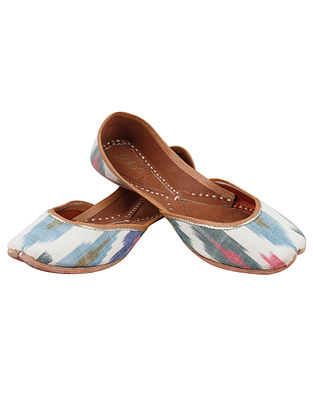 Multicolored Handcrafted Ikat Leather Juttis
