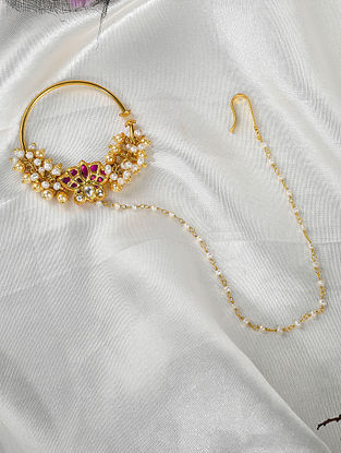 Gold Tone Polki Silver Nath with Pearls