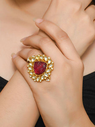 Gold Tone Polki Silver Adjustable Ring with Pearls