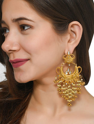 Gold Tone Polki Silver Earrings with Pearls