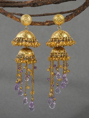 Purple Gold Tone Polki Silver Earrings