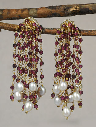 Maroon Gold Tone Polki Silver Earrings with Pearls
