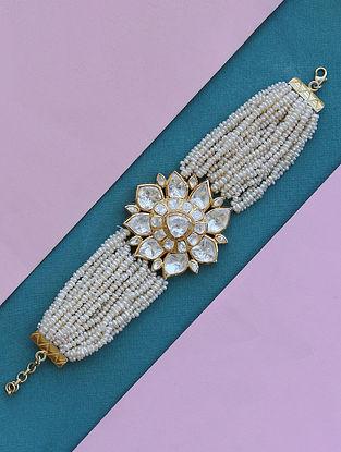 Gold Tone Polki Silver Bracelet with Pearls