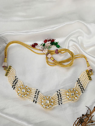 Gold Tone Polki Silver Necklace with Pearls