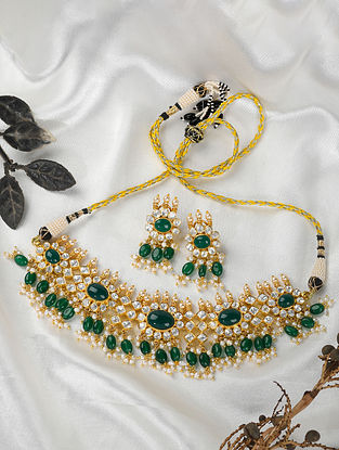 Green Gold Tone Polki Silver Necklace with Earrings