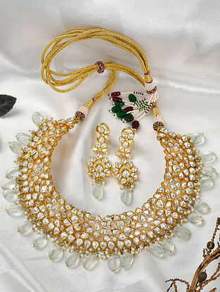 Gold Tone Polki Silver Necklace with Earrings