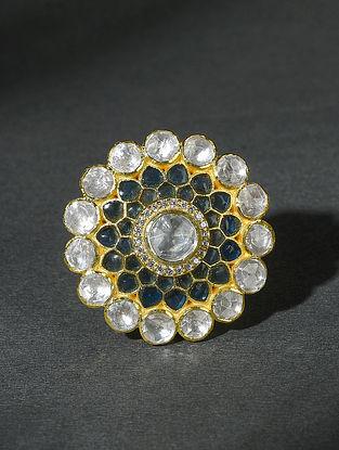 Green Gold Tone Polki Silver Adjustable Ring