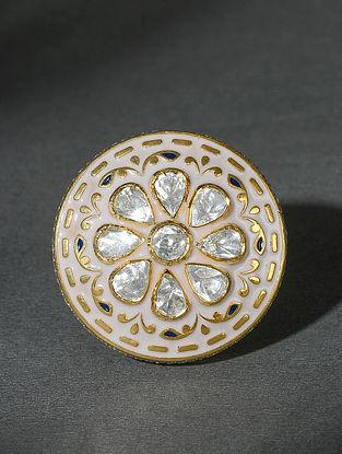Gold Tone Polki Silver Adjustable Ring