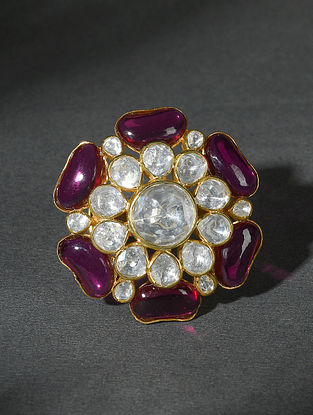 Maroon Gold Tone Polki Silver Adjustable Ring