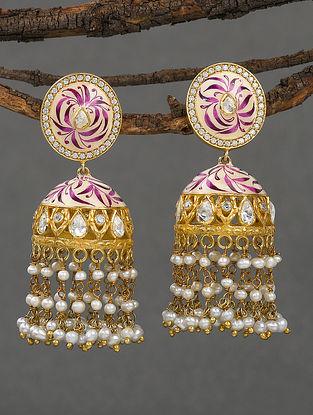Pink Gold Tone Polki Silver Jhumki Earrings with Pearls