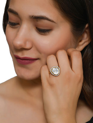 Gold Tone Polki Adjustable Silver Ring