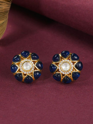 Blue Gold Tone Polki Silver Earrings