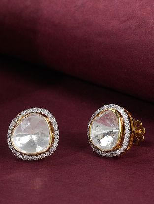Gold Tone Polki Silver Earrings
