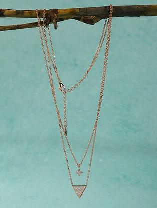 Rose Gold Polki Silver Necklace