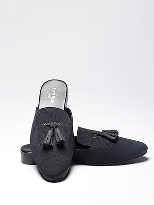 Black Handcrafted Jacquard Mules for Men