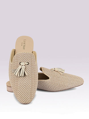 Beige Handcrafted Jacquard Mules for Men