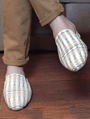 Beige Grey Handcrafted Jacquard Mules for Men