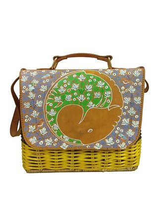 Multicolored Handpainted Cane Vegan Leather Sling Bag
