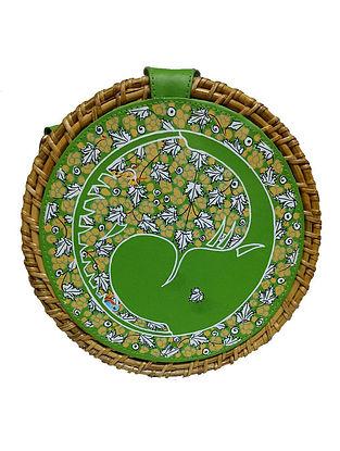 Green Handpainted Cane Vegan Leather Sling Bag